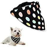 Aodoor Small Adjustable Pet Puppy Dogs Collars Bandana Fashion Pet Neckerchief Scarf Polka Dot Collars Black 29 Cm- 48cm