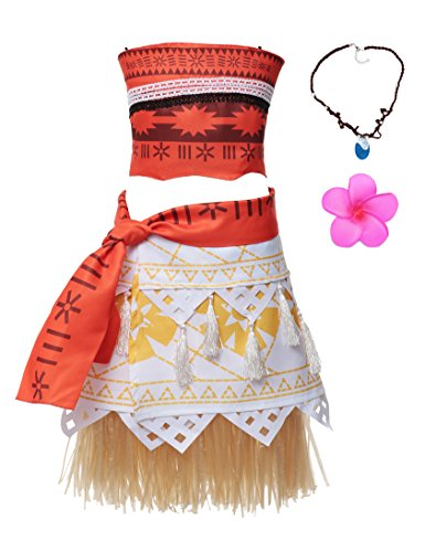 Adult Polynesian Costumes Skirt (Muababy Moana Natives Polynesian Princess Costume Dress With Elastic For Adult Kids (XXL, Adult Dress))