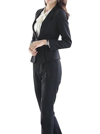 Amazon Com Women S Two Piece Office Lady Blazer Business Suit Set