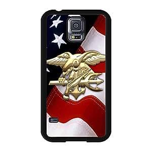 Navy Seals Logo Samsung Galaxy S5 I9600 Phone Case Cover,Luxury Golden Design Commando Navy Seals Case Cover Rugged Back Shell for Samsung Galaxy S5 I9600