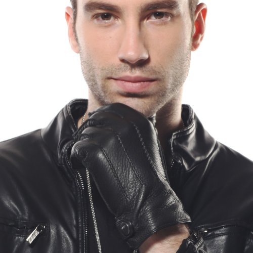 ELMA Men's Deerskin Leather Winter Driving Cashmere Lined Gloves (L, Black) -