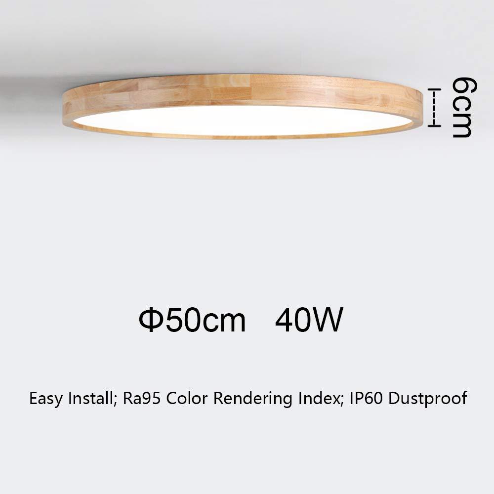 50W LED Deckenleuchte B/üro Esszimmer /Φ60cm Runde Holz Lampe f/ür Wohnzimmer Schlafzimmer dimmbar mit Fernbedienung Kinderzimmer Leuchte Decke Licht Holzlampe Nordic Modern Holz Deckenlampe