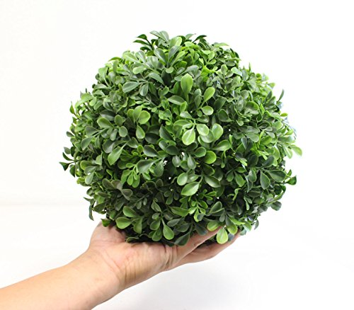 Leaf Ball Topiary (Boxwood Ball Topiary (9 Inch) Artificial Plant Wedding Decor, Indoor/Outdoor Decoration Multiple Leaf Sizes)