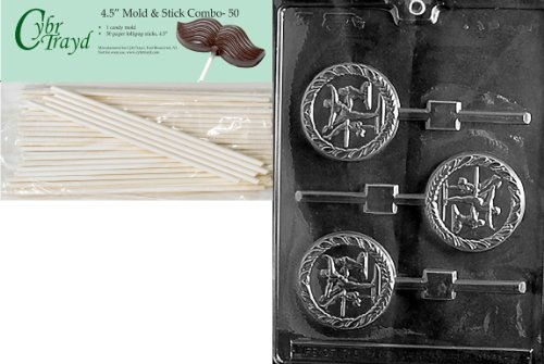 Cybrtrayd 45St50-S072 Female Gymnast Lolly Sports Chocolate Candy Mold with 50-Pack 4.5-Inch Lollipop Sticks