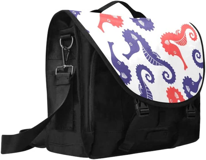 Shoulder Travel Bag Blue and Red Seahorse Sea Nautical Multi-Functional Casual Shoulder Bag Fit for 15 Inch Computer Notebook MacBook
