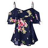 Ghazzi Women Tops Teen Girls Floral Printed Shirts Off Shoulder Short Sleeve Blouse Pullover Crop Top Tee Shirt Sweatshirt