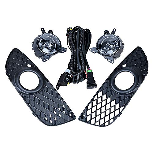 Black Front Lower Grille + Bumper Fog Light Harness Switch Wiring Assembly Compatible with 08-14 Mitsubishi Lancer Sedan 4-DR Models