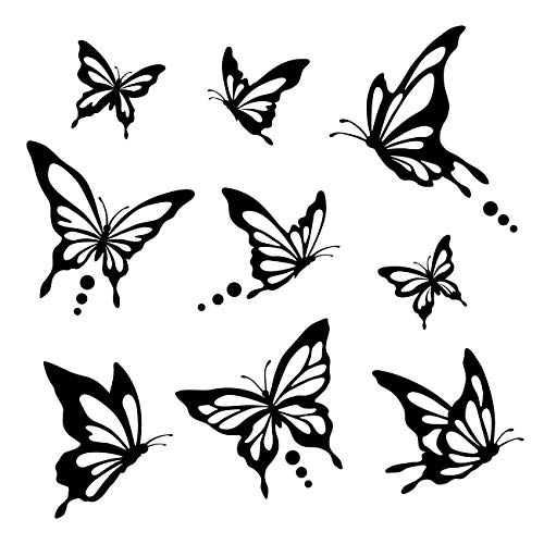 - Decowall DWG-601N_B Modern Butterfly Graphic Kids Wall Decals Wall Stickers Peel and Stick Removable Wall Decals for Kids Nursery Bedroom Living Room (Black)
