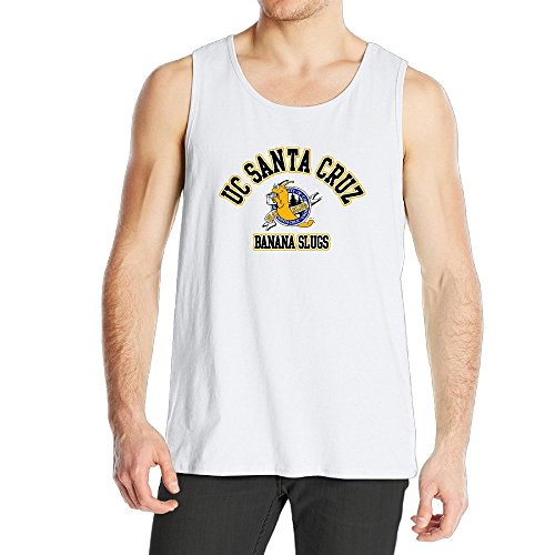 [Men's Uc Santa Cruz Banana Slugs UCSC Teams Logo Tank Top White] (Xxl Santa Suits For Sale)