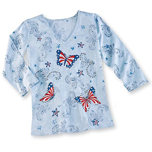 Women's Patriotic Stars And Stripes Sparkling Sequined Butterfly V-Neck 3/4 Sleeve Top, Medium (Sequined 3/4 Sleeve Top)