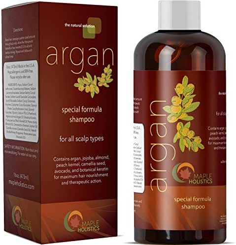 Pure Argan Oil Shampoo with Argan Jojoba Avocado Almond Peach Kernel Camellia Seed and Keratin Safe for Color Treated Hair for Men Women Teens All Hair Types Sulfate Free Silicone Free Cruelty Free