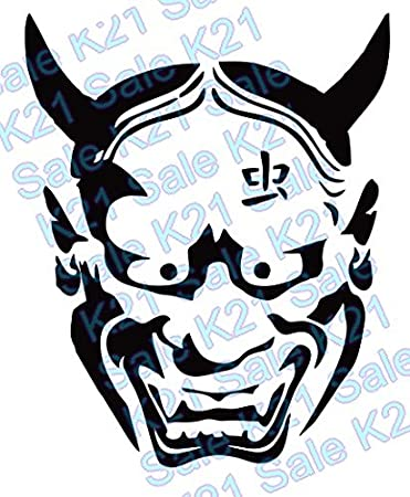 Black japanese devil hannya mask vinyl decal for car truck boat