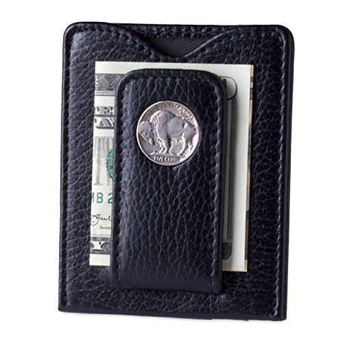 Icon Wallet Mens (Tokens & Icons Buffalo Nickel Money Clip Wallet 80B, Black, 3 x 3.75 x .25 inches)