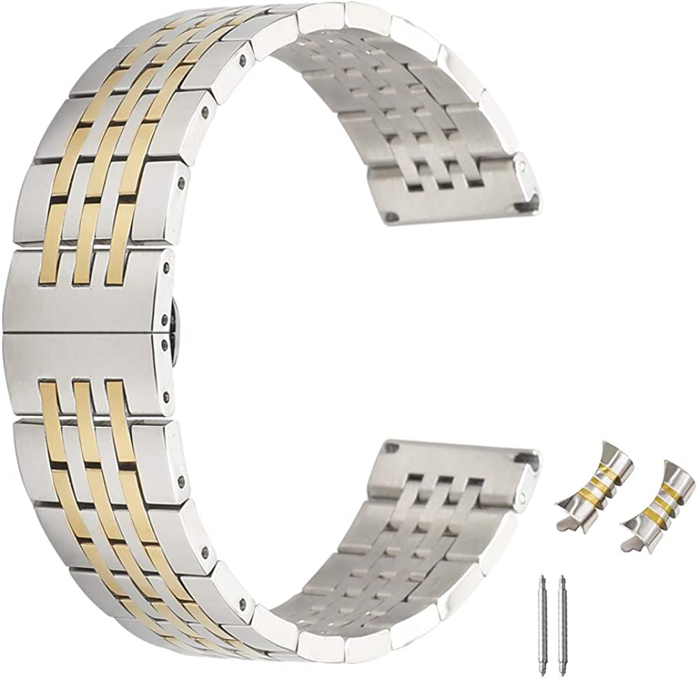 21mm Pulsera de Acero Inoxidable sólido Impresionante para pulir la Plata en Dos Tonos Correa de Reloj del Reloj del Metal Extremo doblado y Oro