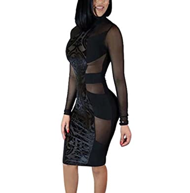 828a29c2d Momtuesdays2 Women s Sexy Mesh See Through Bodycon Clubwear Dress at ...
