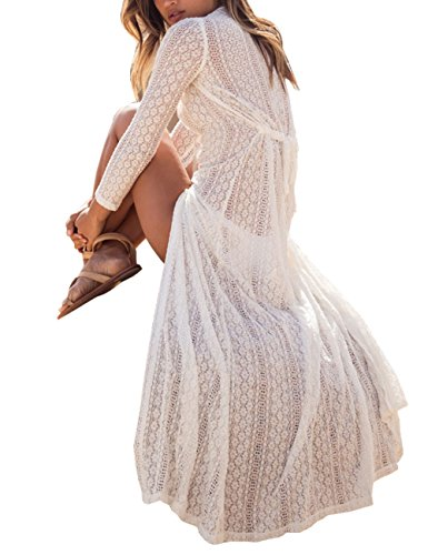 White Crochet Dress (Women's Sexy V-Neck Crochet Bohemian Lace See-Through Split Beach Maxi Dress (White))