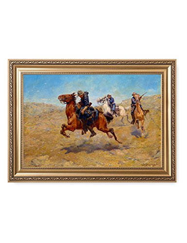 DecorArts - My Bunkie by Charles Schreyvogel; Classic American Art Reproductions; Framed 36''x26'' by DECORARTS