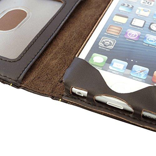 ECO-FUSED Étui portefeuille en cuir véritable pour Apple iPhone 5 avec stylet et chiffon de nettoyage en microfibre Motif couverture du livre Moby Dick Marron Aspect vintage