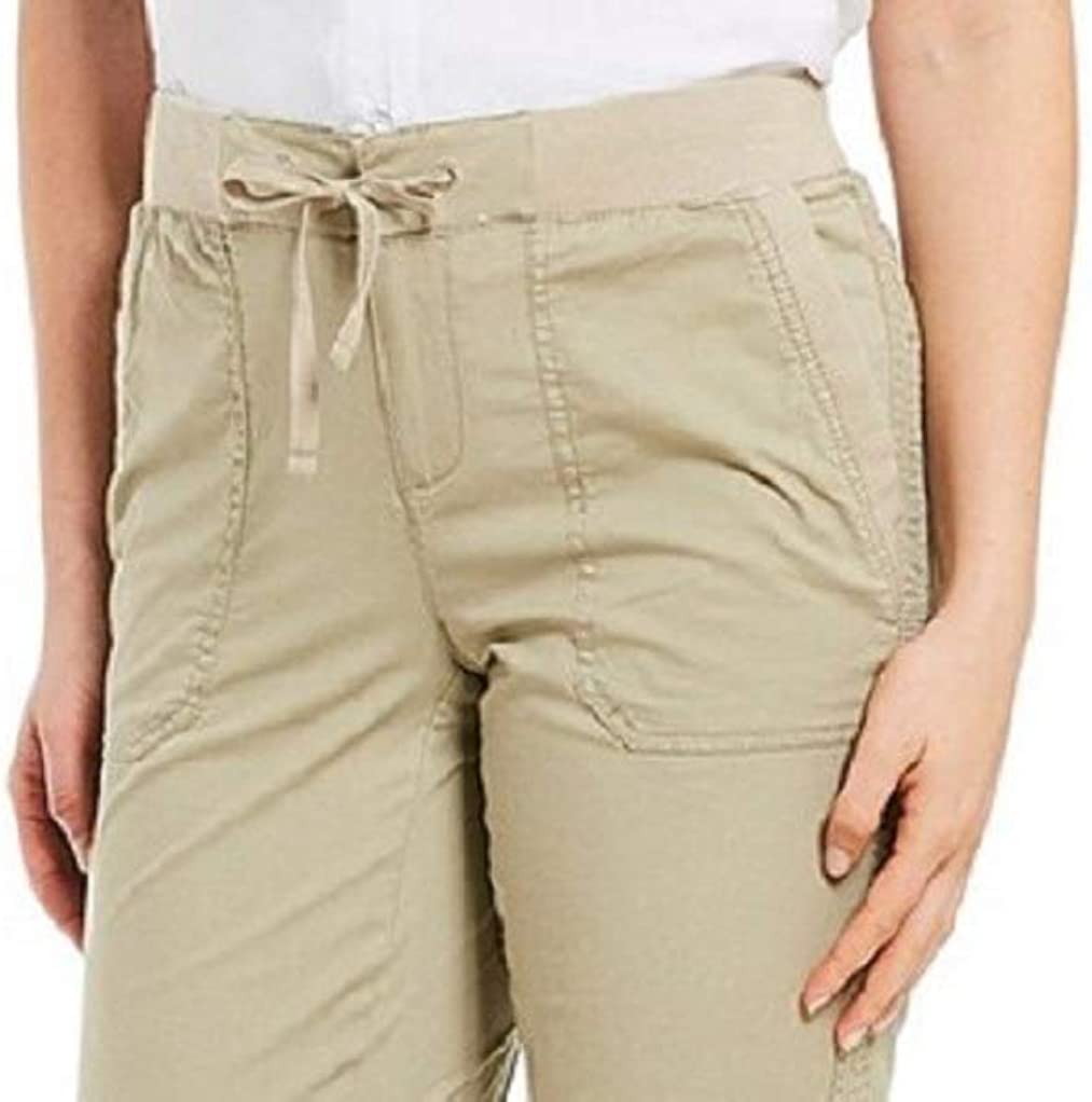 Women/'s Khakis /& Co Knit Stretch Convertible Short Drawstring Sand 6 12 14 16 18