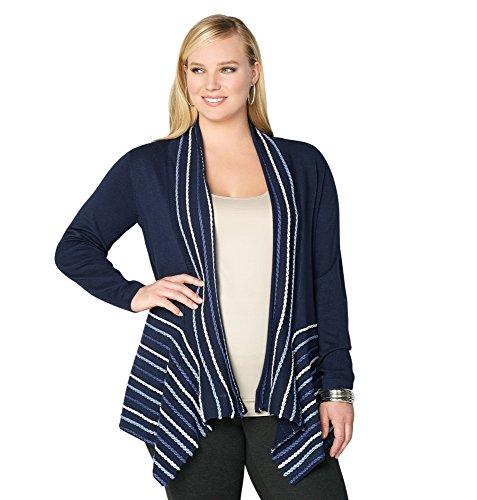 Avenue Women's Striped Trim Cardigan, 26/28 Navy