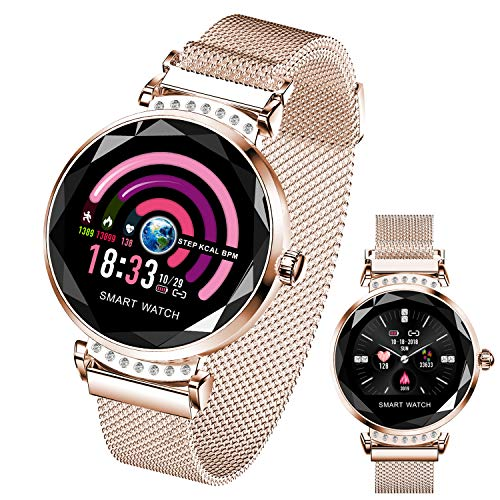 Women Smart Watch, HR Activity Women Fitness Tracker with Blood Pressure Sleep Monitor Period Reminder Fitness Watch Step Calorie Counter SMS/Call Remind Prime Deals