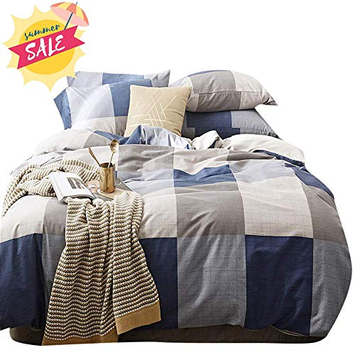 AMWAN Cotton Grid Plaid Duvet Cover Set Queen Modern Nordic Style Full Bedding Set Hotel Quality Checkered Comforter Cover Set Luxury Reversible Bedding Collection for Men Boys Teens Queen Bed - Flannel Duvet Cover Set
