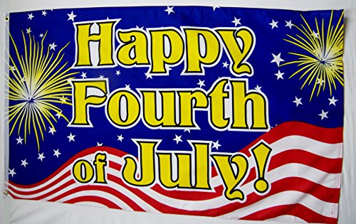 Happy Fourth Of July! Flag 3' X 5' Indoor Outdoor Independence Day Banner
