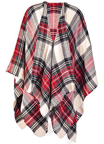 - Womens Large Plaid Poncho Cape Window Panel with Silver Thread Shawl Wrap Tartan Blanket Red