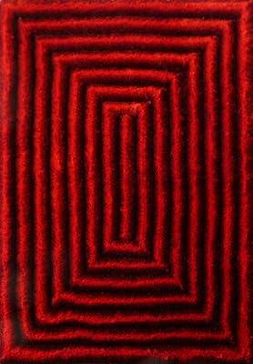 RUGADDICTION Alfombra de nueva generation Color Rojo hecha a mano estilo moderno tridimensional suave y lujosa , gruesa pila de tamaño 5 x 7 pies OFERTA ...