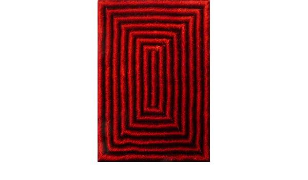 ... Color Rojo hecha a mano estilo moderno tridimensional suave y lujosa , gruesa pila de tamaño 5 x 7 pies OFERTA TIEMPO LIMITADO: Kitchen & Dining