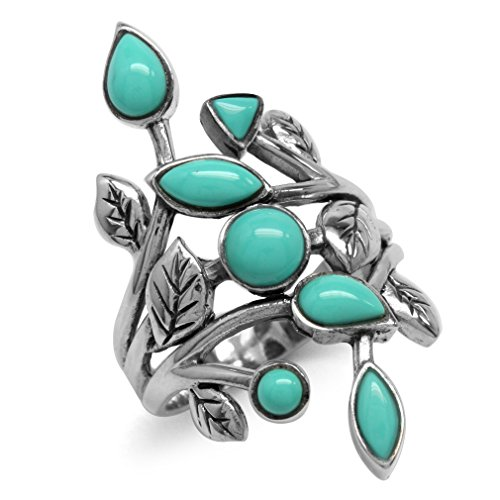 Created Green Turquoise 925 Sterling Silver Leaf Vintage Style Ring Size 6 -