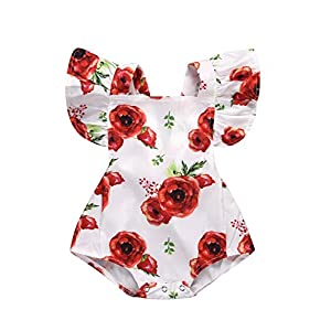 LOliSWan Newborn Baby Girls Floral Print Backless Romper Infant Kids Jumpsuit Outfit Playsuit Clothes (Floral, 12-18Months)