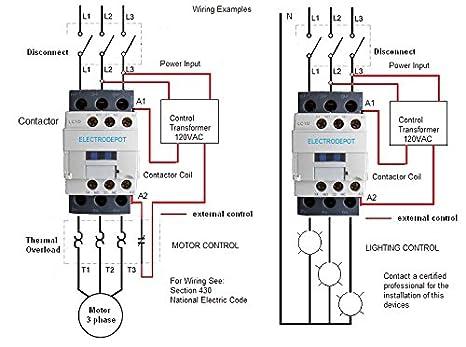 30amp contactor 32a ac3, 50a ac1, coil 120vac, 3 pole 3phase, nc no aux iec  30a - - amazon com