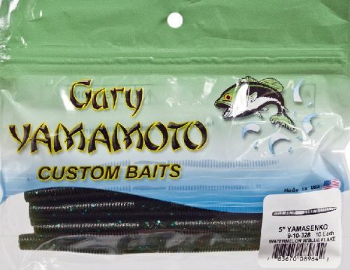 Yamamoto 9-10-328 Senko Bait, 5-Inch, 10-Pack, Watermelon/Blue Flake