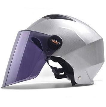 Cascos moto Casco protector solar ultravioleta cuatro estaciones universales medio casco hombres y mujeres modelos (