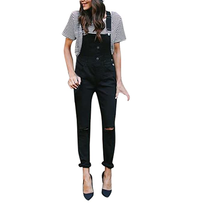 Women Casual Overalls Jeans Loose Denim Bib Hole Pants Demin Trousers Jumpsuit