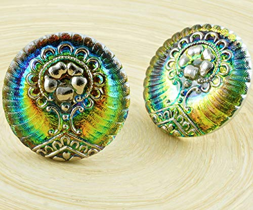 Dichroic Glass Buttons - 1pc Silver Vitrail Medium Green Yellow Tree of Life Flower Handmade Czech Glass Button Size 12 27mm