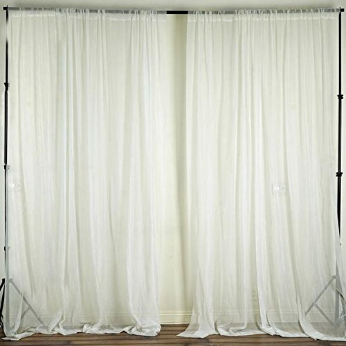 Efavormart 10FT Fire Retardant Ivory Sheer Voil Curtain Panel Backdrop for Window Wall Decoration - Premium Collection ()