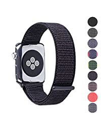 Woven Velcro Nylon Replacement Apple Watch Band by Pantheon, Sport Loop Edition, For Men or Women, Strap fits the 38mm or 42mm Apple iWatch, Compatible Series 1, 2, 3, Nike