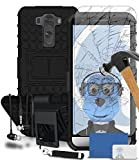 iTALKonline LG G3 D850 Black Black Tough Hard Shock Proof Rugged Heavy Duty Case Cover with Viewing Stand Tempered Glass Protective LCD Screen Protector with MicroFibre Polishing Cleaning Cloth Application Card Retractable Mini Stylus Pen and 3.5mm Stereo HandsFree Headphones with Mic
