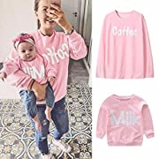 Franterd Mommy&Me Girls Women Parent-Child Milk Coffee Print Sweatshirt Pullover Family Matching Tops Outfits (Baby, 12M)
