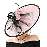Koola Hatinator Hat Fascinators Church Cocktail Party Wedding Sinamay Women Hats Pink