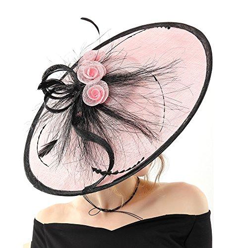 Koola Hatinator Hat Fascinators Church Cocktail Party Wedding Sinamay Women Hats Pink by Koola