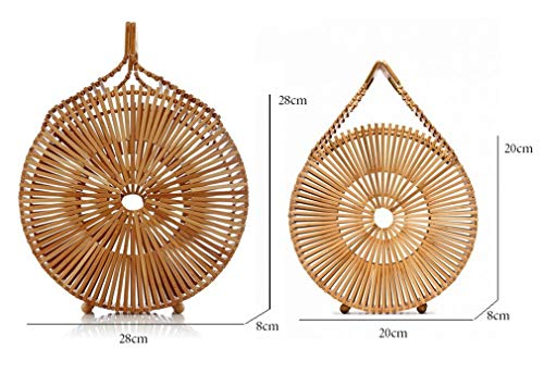 - KXUJCHG Round Basket Handmade Wholesale Bamboo Top-Handle Totes Circle Rattan Women Summer Beach Bags Hollow Out Chic Purses