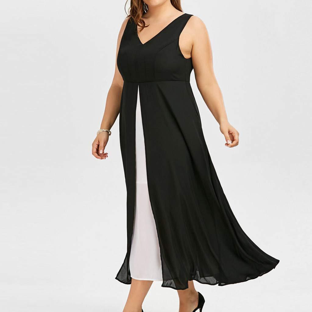 Gyouanime Plus Size Dress Womens V-Neck Sleeveless Black White Patchwork Long Maxi Dress Beachwear by Gyouanime Dress (Image #3)