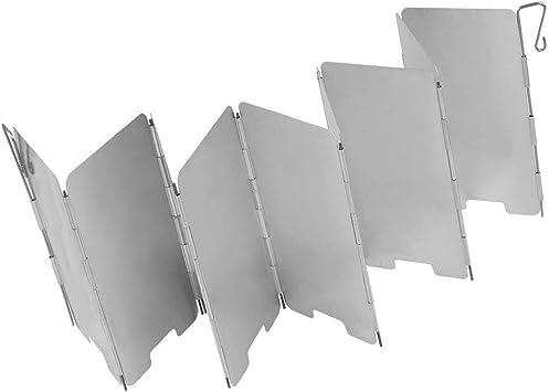 KongJies Parabrisas de aluminio ligero 9 placas mini parabrisas para barbacoa picnic camping equipo