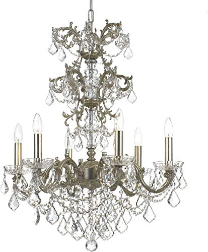 Highland Park Outdoor Light - Crystorama 5286-OS-CL-SAQ Transitional Six Light Chandelier from Highland Park collection in Pwt, Nckl, B/S, Slvr.finish,