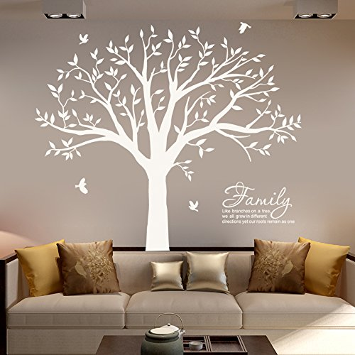 MAFENT Family Tree Wall Decal Quote- Family Like Branches On A Tree Lettering Tree Wall Sticker for Bedroom Decoration (White) by MAFENT (Image #2)