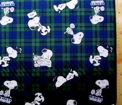 <キャラクター生地・ナイロンタフタ> (ナイロン100%) スヌーピー(紺/グリーン)#96の商品画像