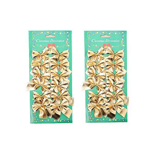 ZaH 24pcs Christmas Tree Decrations Bowknot Cute Wedding Party Home Decration Wreath Hanger Garlands Decor Bows Gold from ZaH